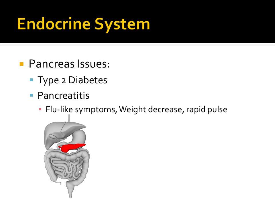  Pancreas Issues:  Type 2 Diabetes  Pancreatitis ▪ Flu-like symptoms, Weight decrease, rapid pulse