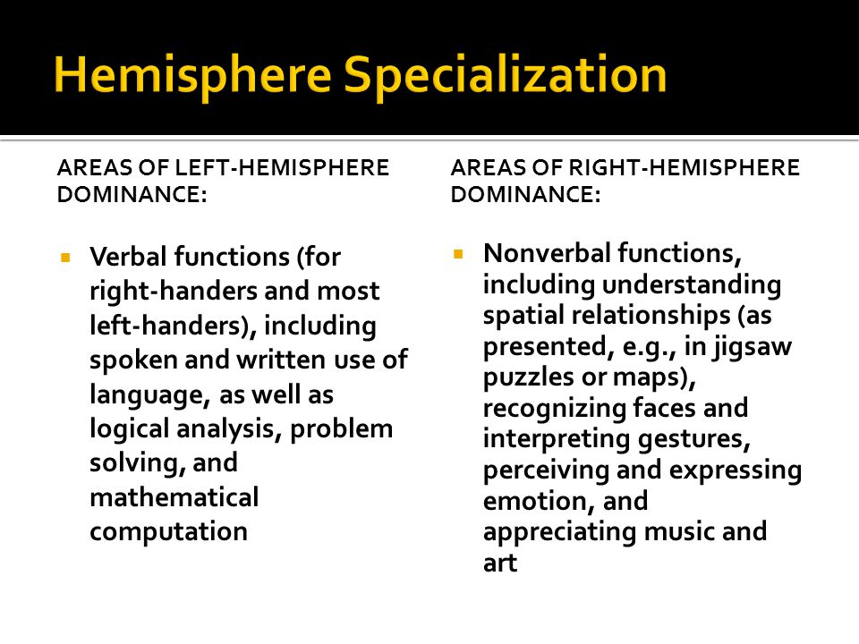 AREAS OF LEFT-HEMISPHERE DOMINANCE:  Verbal functions (for right-handers and most left-handers), including spoken and written use of language, as well as logical analysis, problem solving, and mathematical computation AREAS OF RIGHT-HEMISPHERE DOMINANCE:  Nonverbal functions, including understanding spatial relationships (as presented, e.g., in jigsaw puzzles or maps), recognizing faces and interpreting gestures, perceiving and expressing emotion, and appreciating music and art