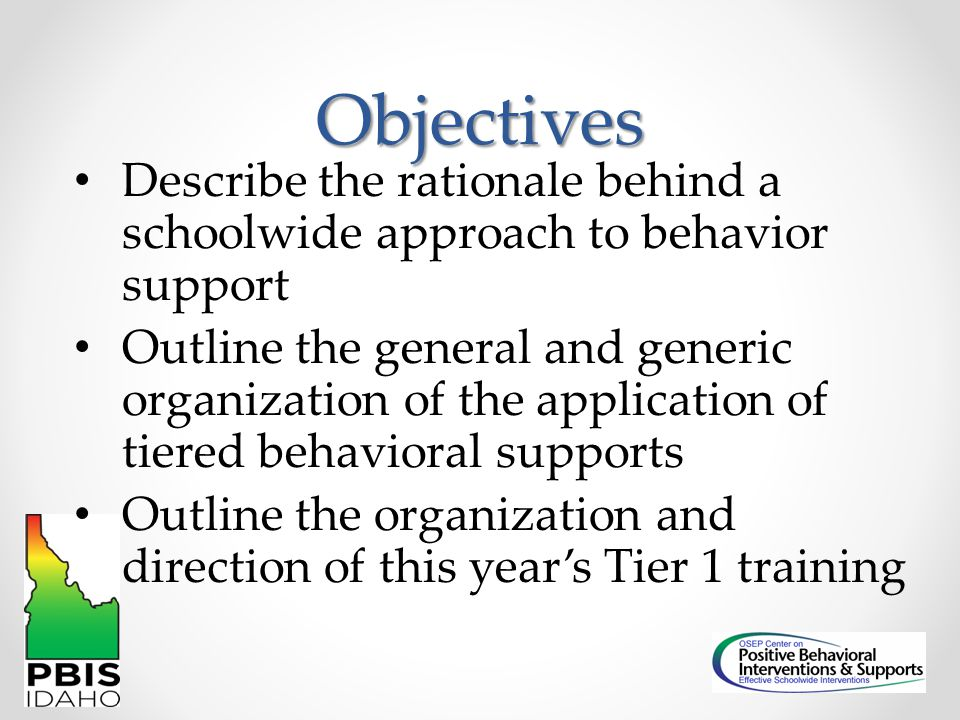 Tier One Getting Started Overview, Schoolwide, Non-classroom, Data Decisions, Team Meetings, Team Planning Expanding Implementation Classroom, Escalation Cycle, Team Status Check, Team Planning Sustaining Efforts Individual Student, Secondary-group, Team Planning, Long- term Action Planning