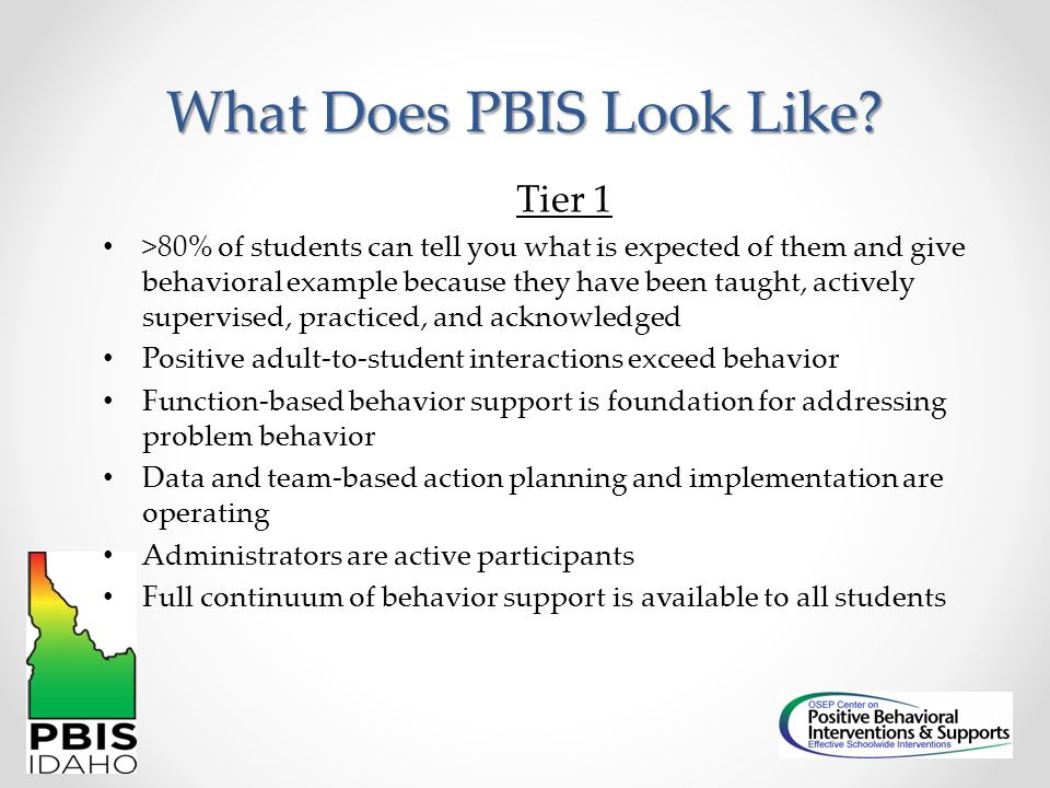 What Does PBIS Look Like? Tier 1 >80% of students can tell you what is expected of them and give behavioral example because they have been taught, act