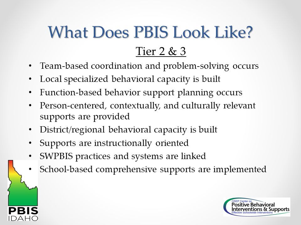 What Does PBIS Look Like? Tier 2 & 3 Team-based coordination and problem-solving occurs Local specialized behavioral capacity is built Function-based