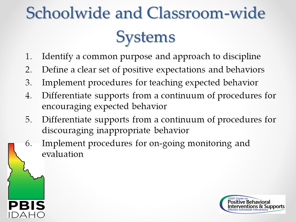 Schoolwide and Classroom-wide Systems 1.Identify a common purpose and approach to discipline 2.Define a clear set of positive expectations and behavio