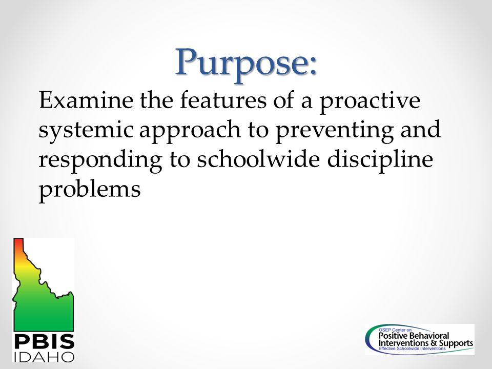 Generic Model Schoolwide PBIS Team Represents school, meets regularly Writes plan, trains school employees Coach Facilitates meetings Provides technical assistance to school Links school to state State Leadership Team Guides planning and development Coordinates training Comprises school teams/structure
