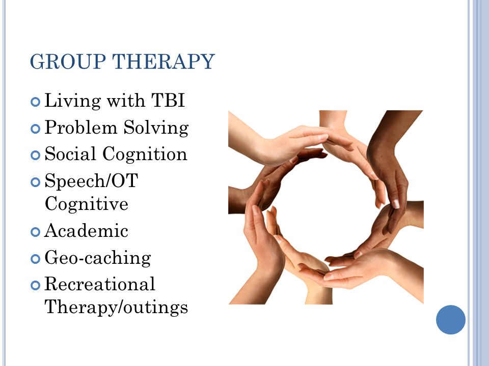 GROUP THERAPY Living with TBI Problem Solving Social Cognition Speech/OT Cognitive Academic Geo-caching Recreational Therapy/outings