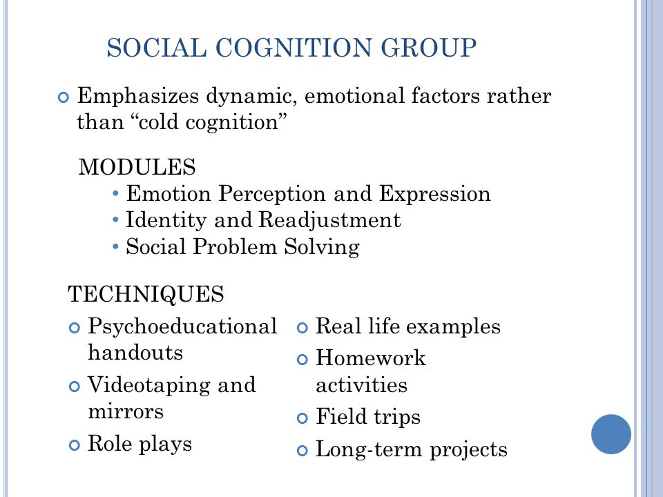 Emphasizes dynamic, emotional factors rather than cold cognition SOCIAL COGNITION GROUP TECHNIQUES Psychoeducational handouts Videotaping and mirrors Role plays Real life examples Homework activities Field trips Long-term projects MODULES Emotion Perception and Expression Identity and Readjustment Social Problem Solving