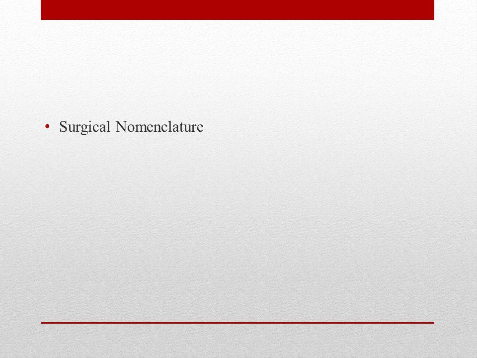 Surgical Nomenclature