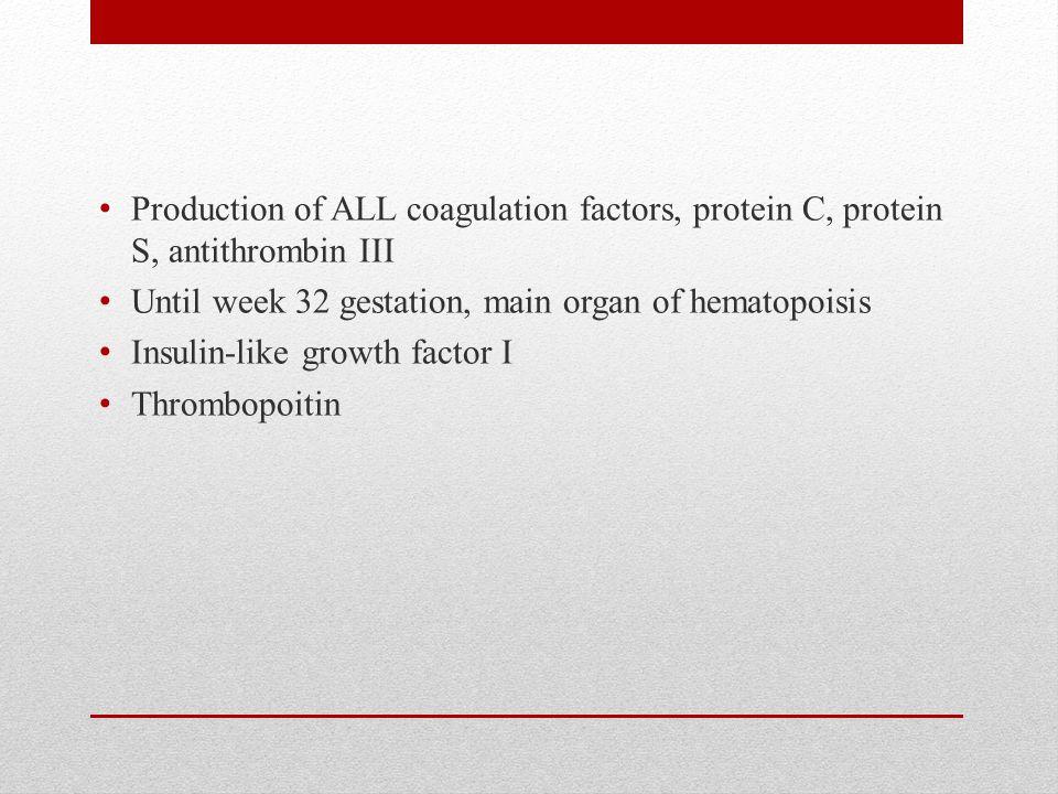 Production of ALL coagulation factors, protein C, protein S, antithrombin III Until week 32 gestation, main organ of hematopoisis Insulin-like growth factor I Thrombopoitin