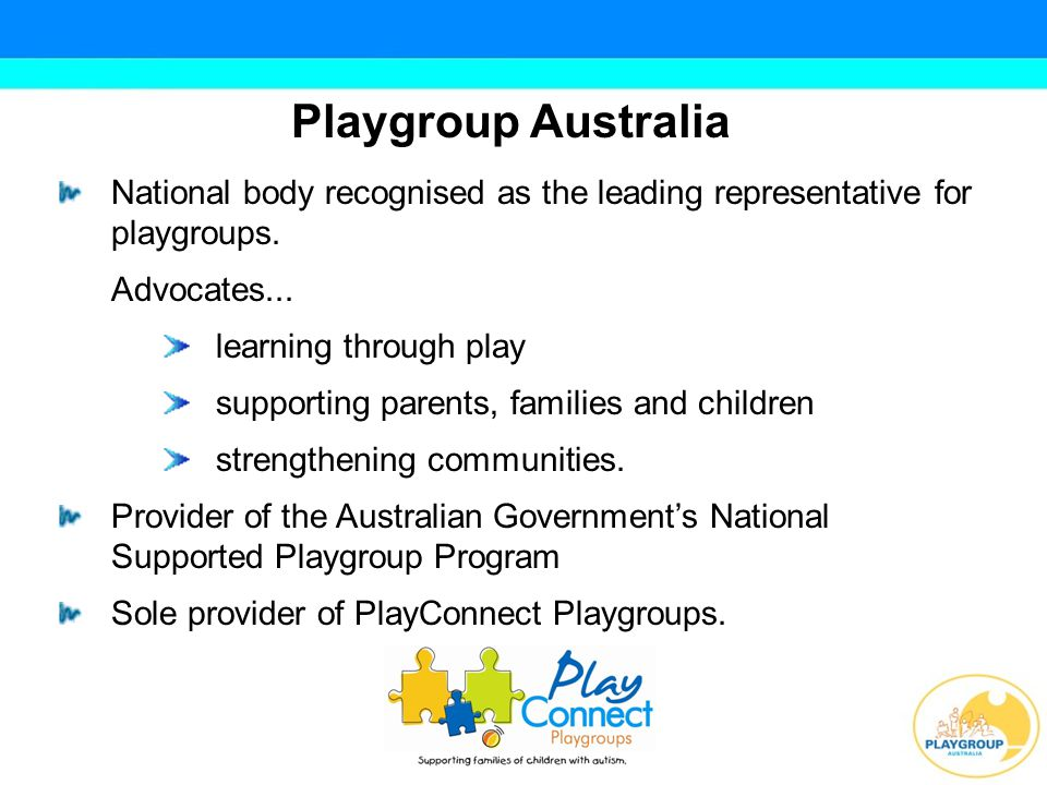 Playgroup Australia National body recognised as the leading representative for playgroups.