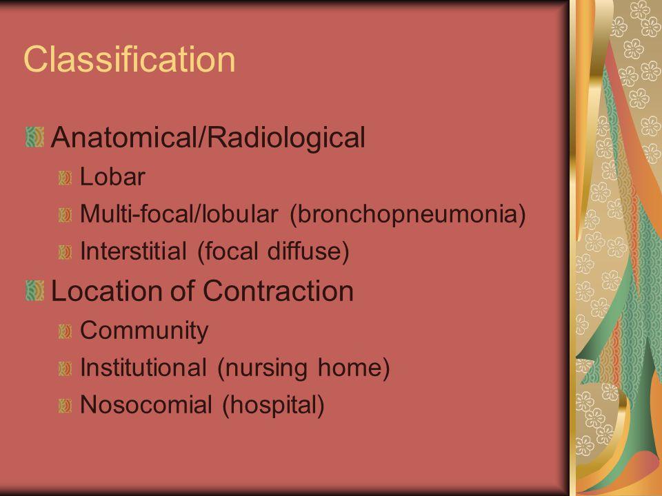Classification Anatomical/Radiological Lobar Multi-focal/lobular (bronchopneumonia) Interstitial (focal diffuse) Location of Contraction Community Ins