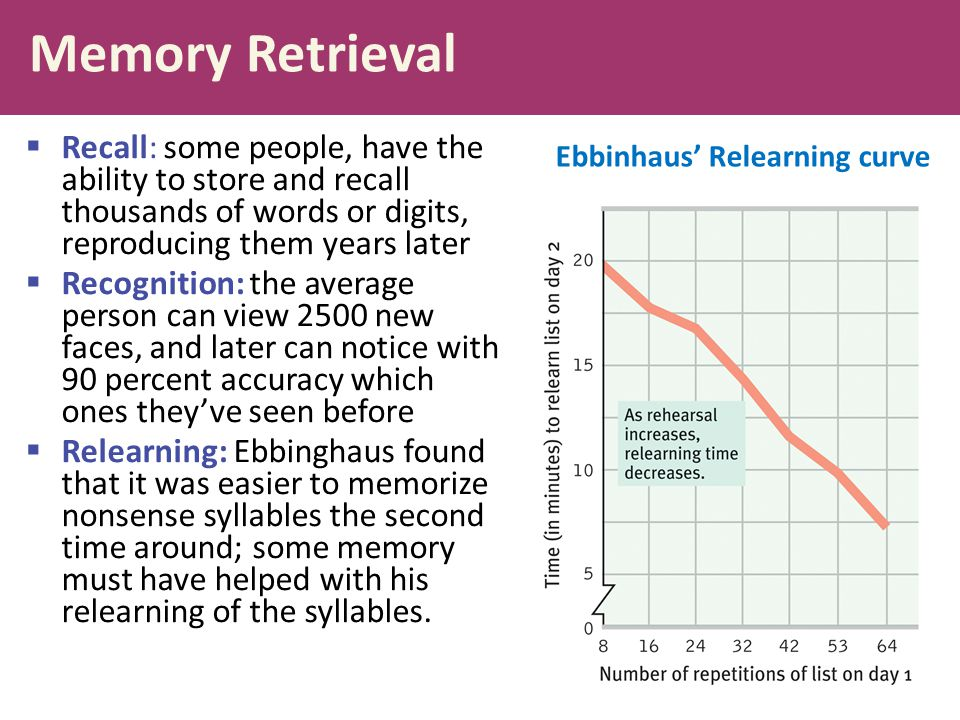 Memory Retrieval  Recall: some people, have the ability to store and recall thousands of words or digits, reproducing them years later  Recognition: the average person can view 2500 new faces, and later can notice with 90 percent accuracy which ones they've seen before  Relearning: Ebbinghaus found that it was easier to memorize nonsense syllables the second time around; some memory must have helped with his relearning of the syllables.