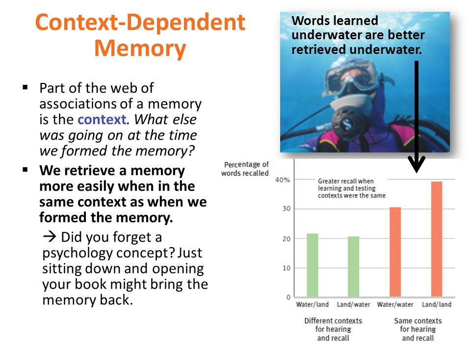 Context-Dependent Memory  Part of the web of associations of a memory is the context.