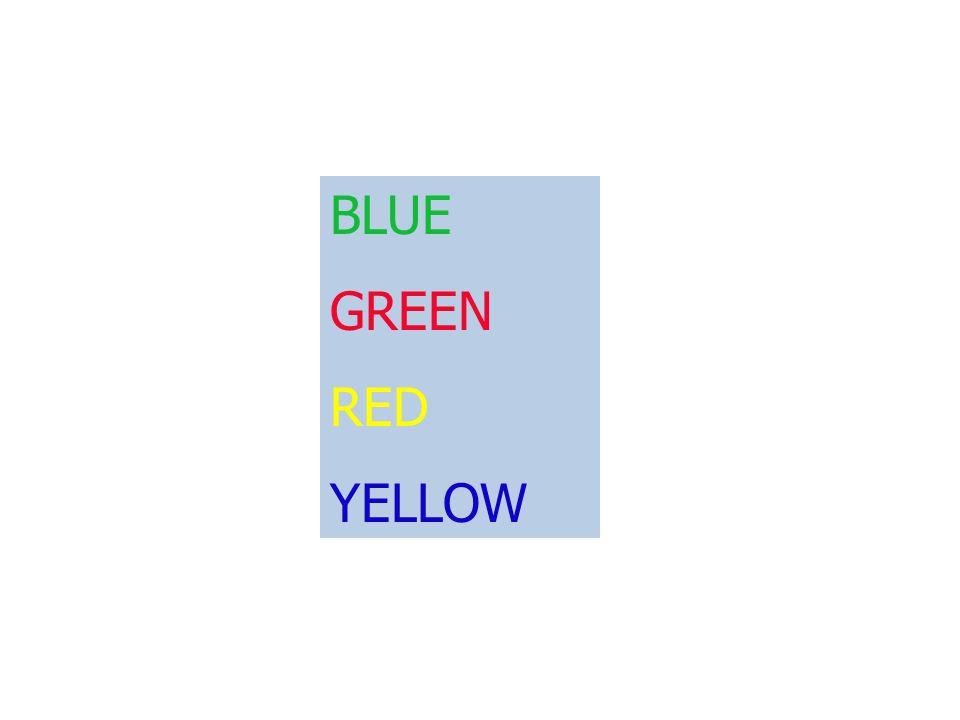 Blue Green Red Violet Yellow Orange Black