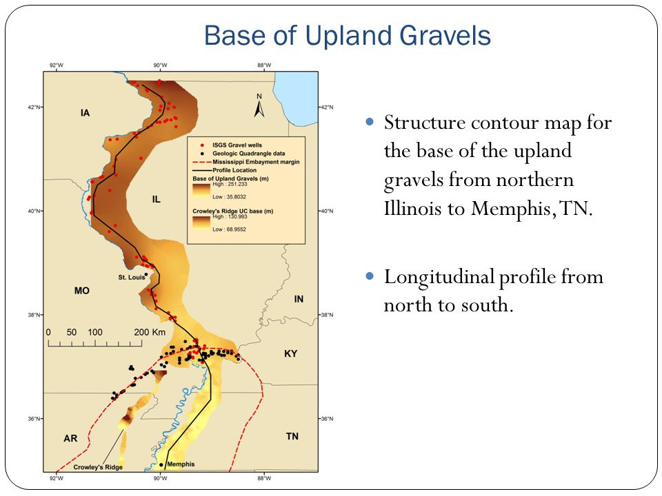Base of Upland Gravels Structure contour map for the base of the upland gravels from northern Illinois to Memphis, TN. Longitudinal profile from north
