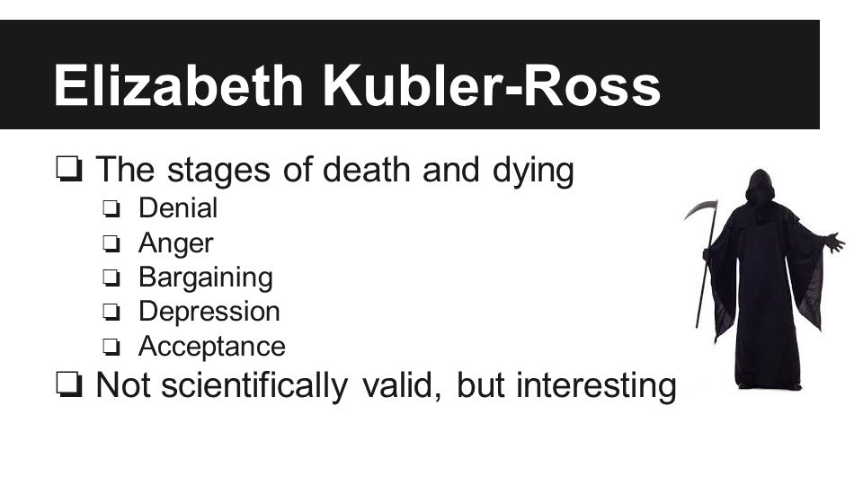 Elizabeth Kubler-Ross ❏ The stages of death and dying ❏ Denial ❏ Anger ❏ Bargaining ❏ Depression ❏ Acceptance ❏ Not scientifically valid, but interesting