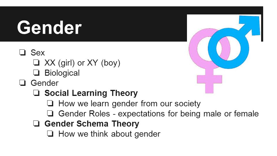 Gender ❏ Sex ❏ XX (girl) or XY (boy) ❏ Biological ❏ Gender ❏ Social Learning Theory ❏ How we learn gender from our society ❏ Gender Roles - expectations for being male or female ❏ Gender Schema Theory ❏ How we think about gender