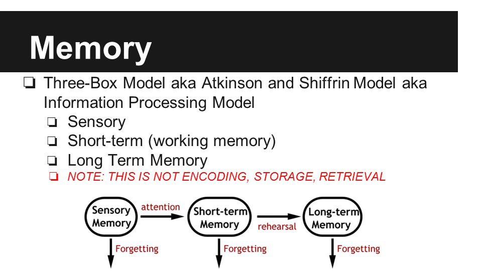 Memory ❏ Three-Box Model aka Atkinson and Shiffrin Model aka Information Processing Model ❏ Sensory ❏ Short-term (working memory) ❏ Long Term Memory ❏ NOTE: THIS IS NOT ENCODING, STORAGE, RETRIEVAL