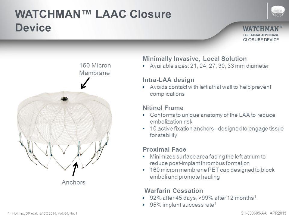 SH-300605-AA APR2015 WATCHMAN™ Access Sheath Preformed access sheath curve shapes guide position in LAA WATCHMAN™ Access Sheath 14F outer diameter (4.7mm), 12F inner diameter (4mm) 75 cm working length
