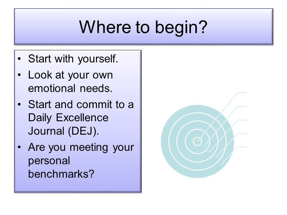 Where to begin.Start with yourself. Look at your own emotional needs.