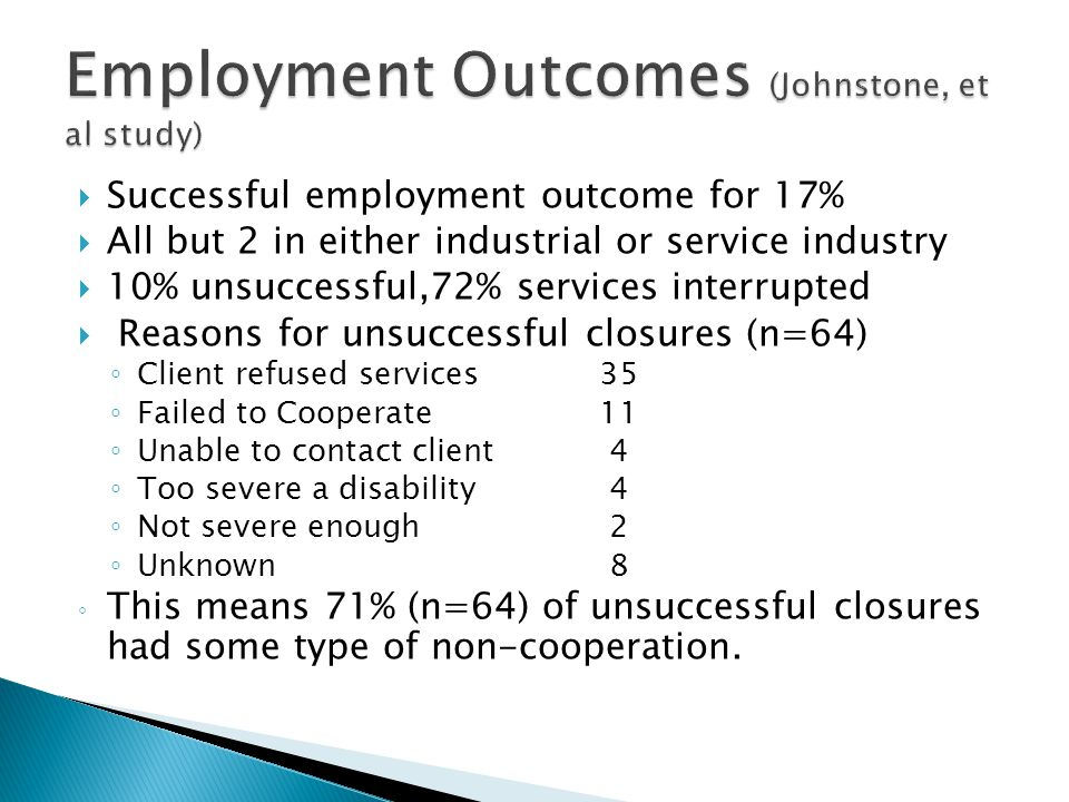  Successful employment outcome for 17%  All but 2 in either industrial or service industry  10% unsuccessful,72% services interrupted  Reasons for
