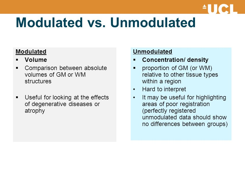 Modulated vs. Unmodulated Unmodulated  Concentration/ density  proportion of GM (or WM) relative to other tissue types within a region Hard to inter