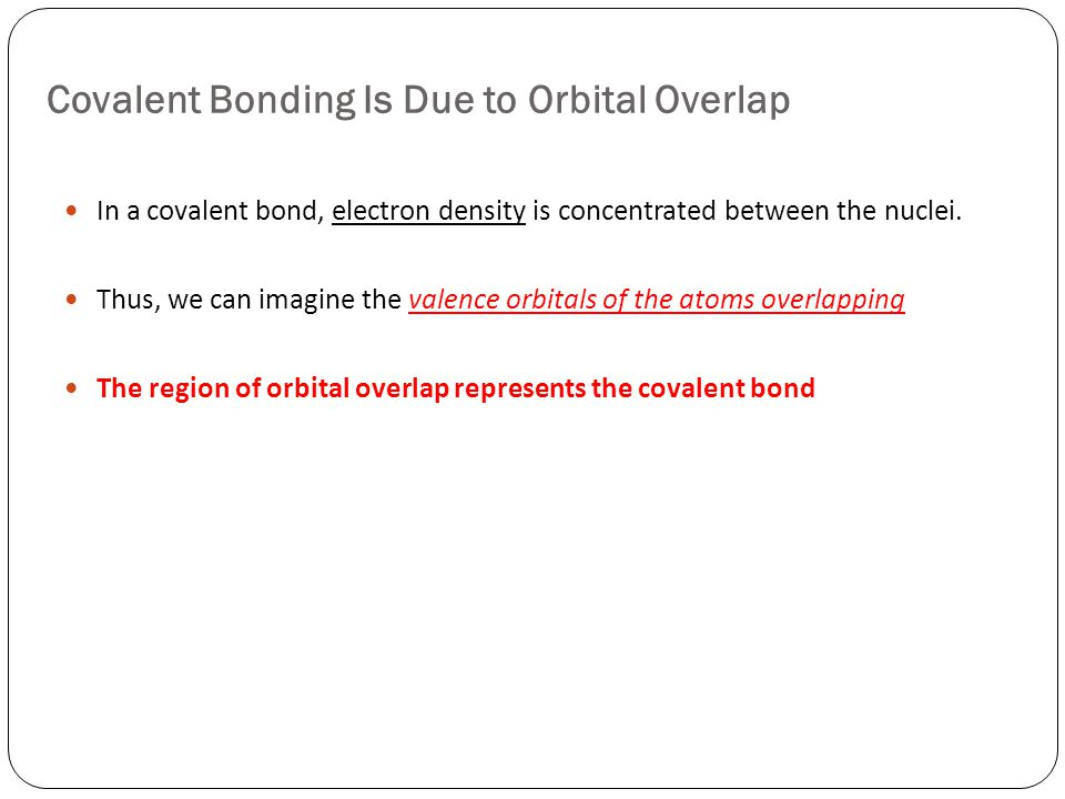 Covalent Bonding Is Due to Orbital Overlap In a covalent bond, electron density is concentrated between the nuclei.