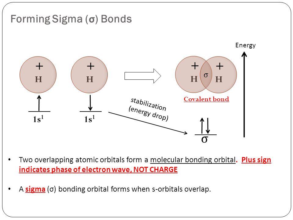 Forming Sigma ( σ ) Bonds σ Covalent bond 1s 1 H + H + H + H + σ Two overlapping atomic orbitals form a molecular bonding orbital.