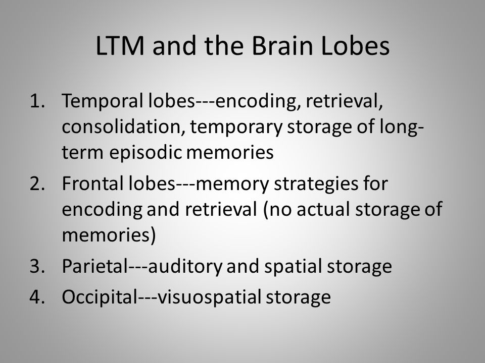 LTM and the Brain Lobes 1.Temporal lobes---encoding, retrieval, consolidation, temporary storage of long- term episodic memories 2.Frontal lobes---memory strategies for encoding and retrieval (no actual storage of memories) 3.Parietal---auditory and spatial storage 4.Occipital---visuospatial storage