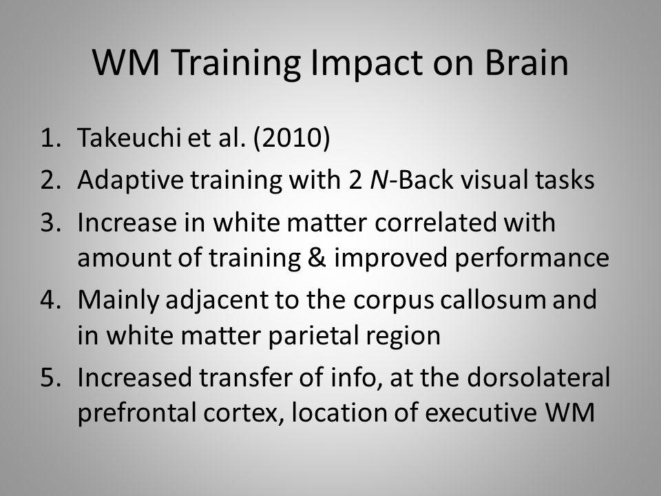 WM Training Impact on Brain 1.Takeuchi et al.
