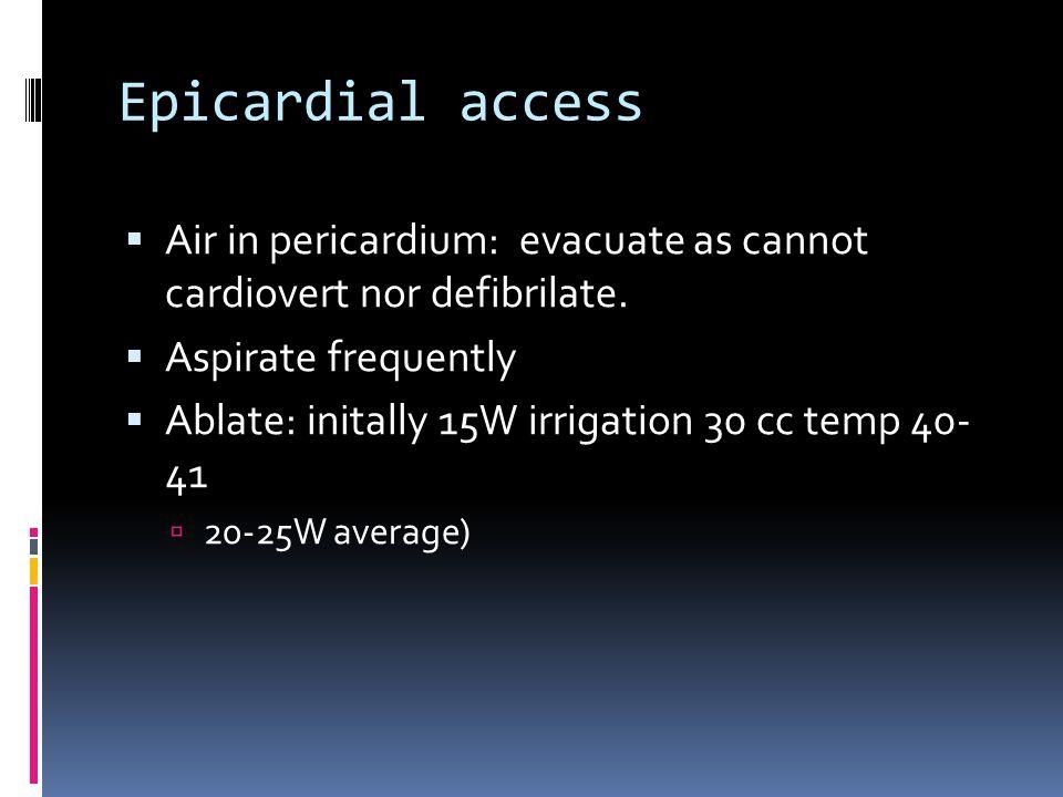 Epicardial access  Air in pericardium: evacuate as cannot cardiovert nor defibrilate.