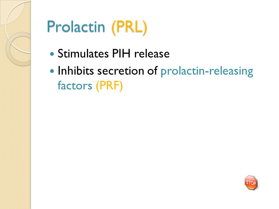 Prolactin (PRL) Stimulates PIH release Inhibits secretion of prolactin-releasing factors (PRF)