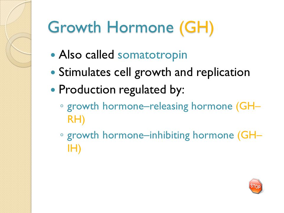 Growth Hormone (GH) Also called somatotropin Stimulates cell growth and replication Production regulated by: ◦ growth hormone–releasing hormone (GH– RH) ◦ growth hormone–inhibiting hormone (GH– IH)