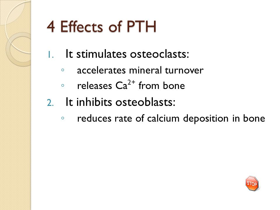 4 Effects of PTH 1.