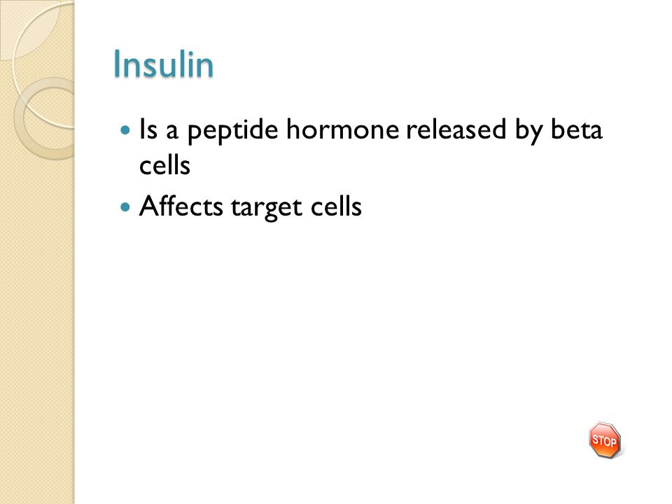 Insulin Is a peptide hormone released by beta cells Affects target cells
