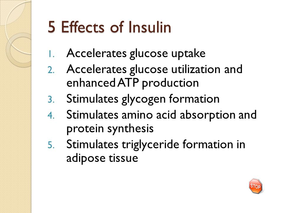 5 Effects of Insulin 1. Accelerates glucose uptake 2. Accelerates glucose utilization and enhanced ATP production 3. Stimulates glycogen formation 4.