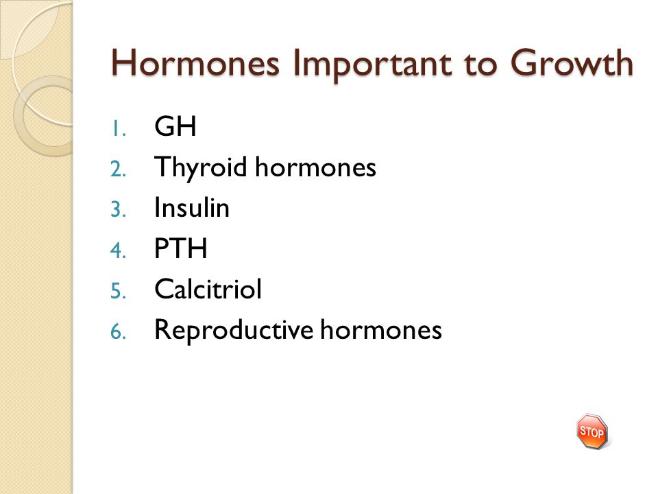 Hormones Important to Growth 1. GH 2. Thyroid hormones 3. Insulin 4. PTH 5. Calcitriol 6. Reproductive hormones