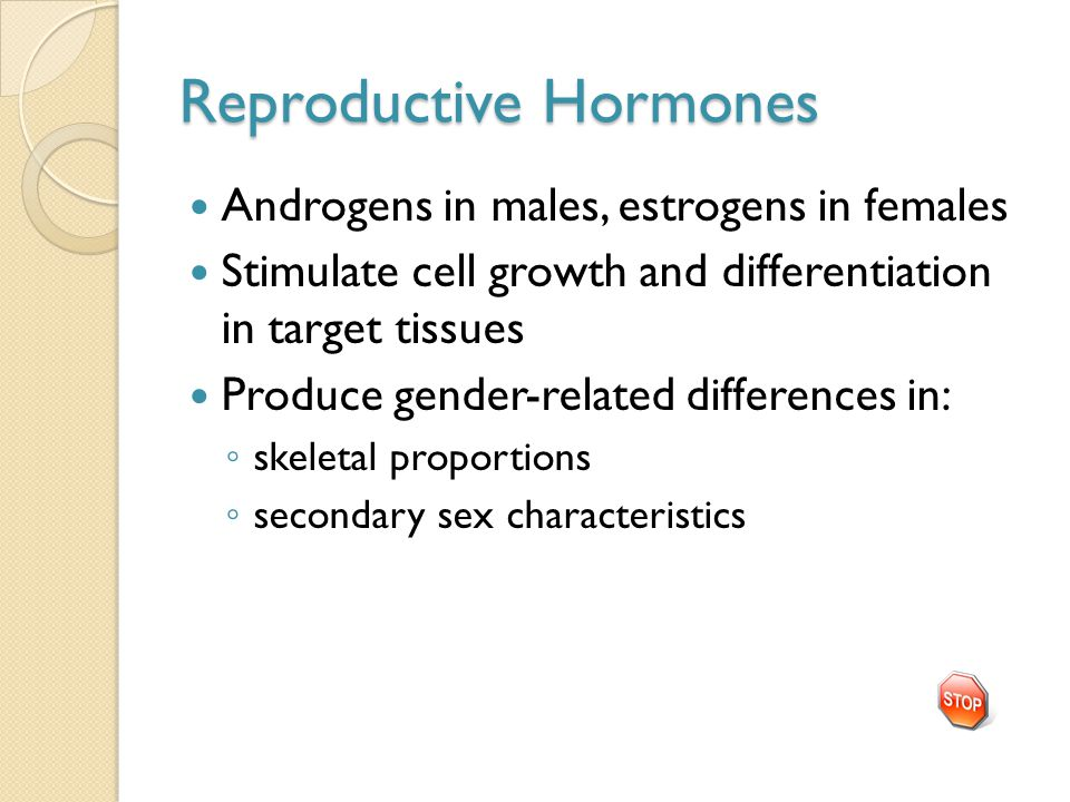 Reproductive Hormones Androgens in males, estrogens in females Stimulate cell growth and differentiation in target tissues Produce gender-related differences in: ◦ skeletal proportions ◦ secondary sex characteristics