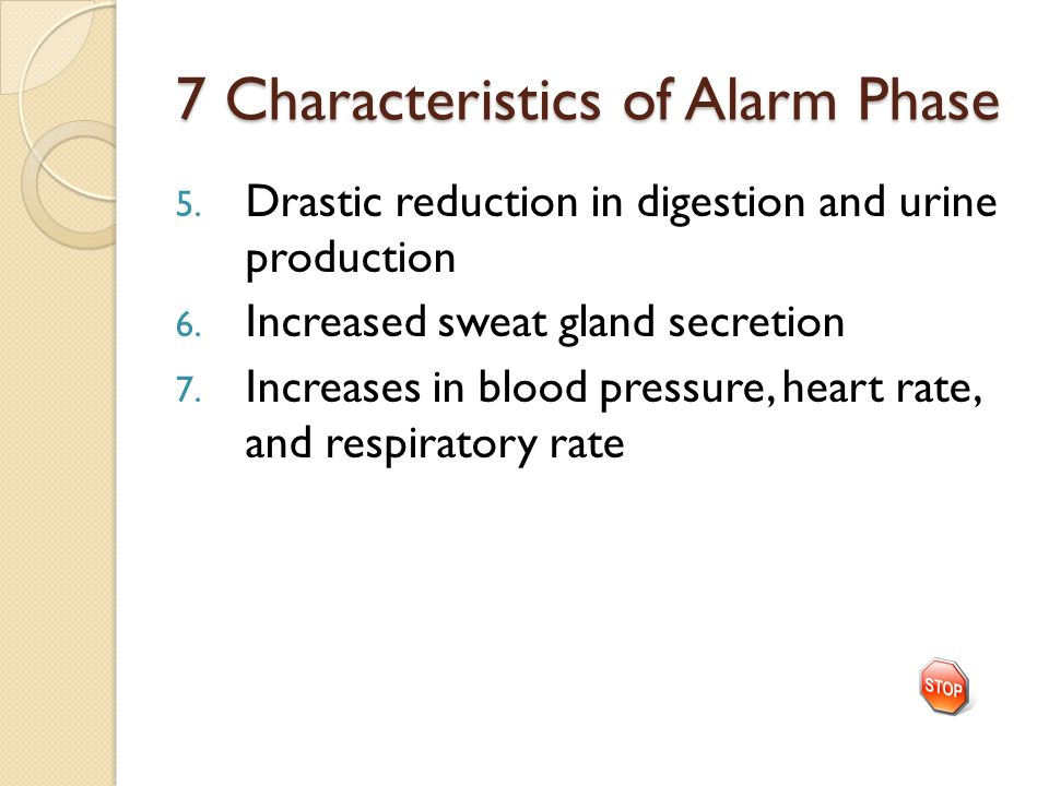 7 Characteristics of Alarm Phase 5.Drastic reduction in digestion and urine production 6.