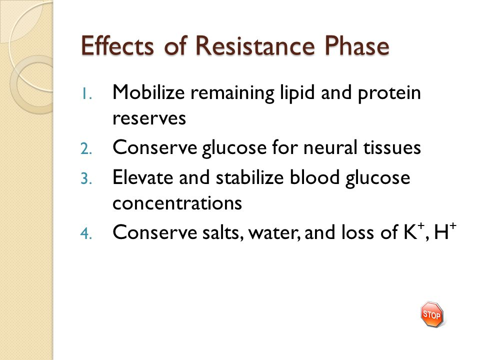 Effects of Resistance Phase 1.Mobilize remaining lipid and protein reserves 2.