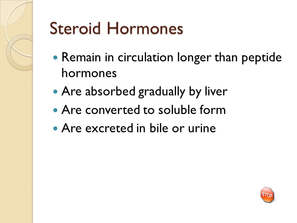 Steroid Hormones Remain in circulation longer than peptide hormones Are absorbed gradually by liver Are converted to soluble form Are excreted in bile