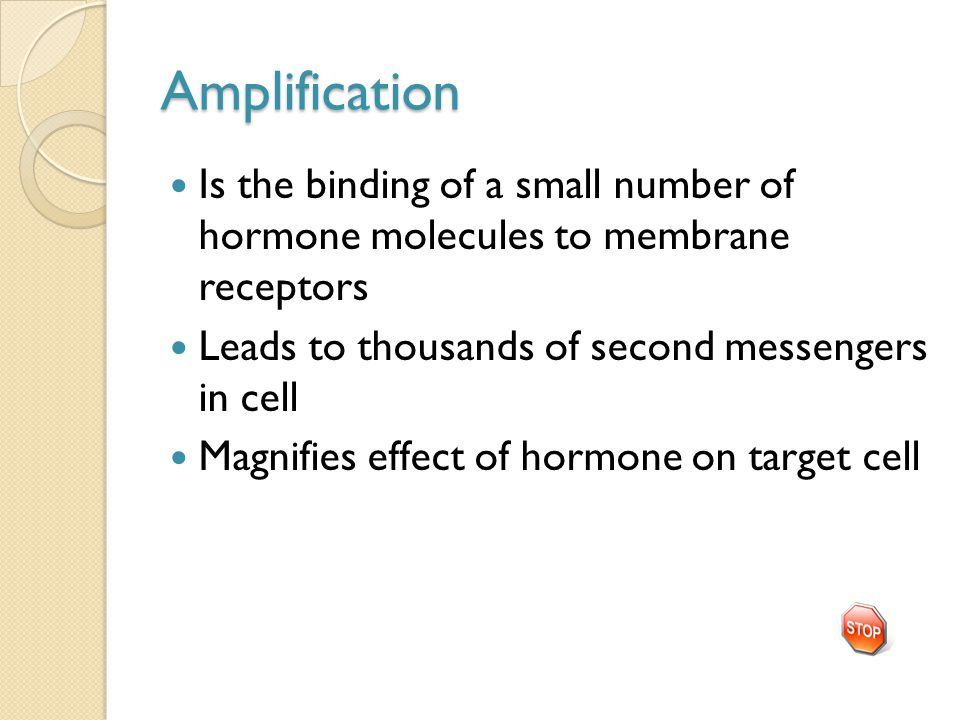 Amplification Is the binding of a small number of hormone molecules to membrane receptors Leads to thousands of second messengers in cell Magnifies ef