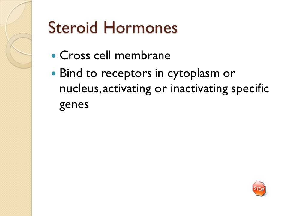 Steroid Hormones Cross cell membrane Bind to receptors in cytoplasm or nucleus, activating or inactivating specific genes