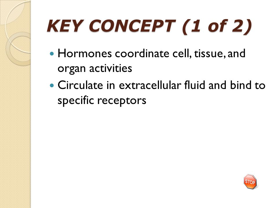 KEY CONCEPT (1 of 2) Hormones coordinate cell, tissue, and organ activities Circulate in extracellular fluid and bind to specific receptors