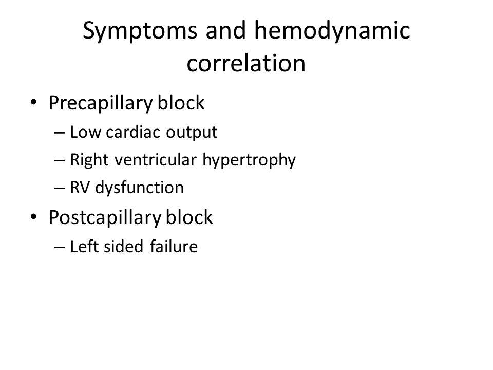 Symptoms and hemodynamic correlation Precapillary block – Low cardiac output – Right ventricular hypertrophy – RV dysfunction Postcapillary block – Le