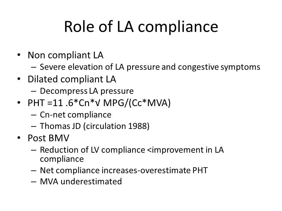 Role of LA compliance Non compliant LA – Severe elevation of LA pressure and congestive symptoms Dilated compliant LA – Decompress LA pressure PHT =11