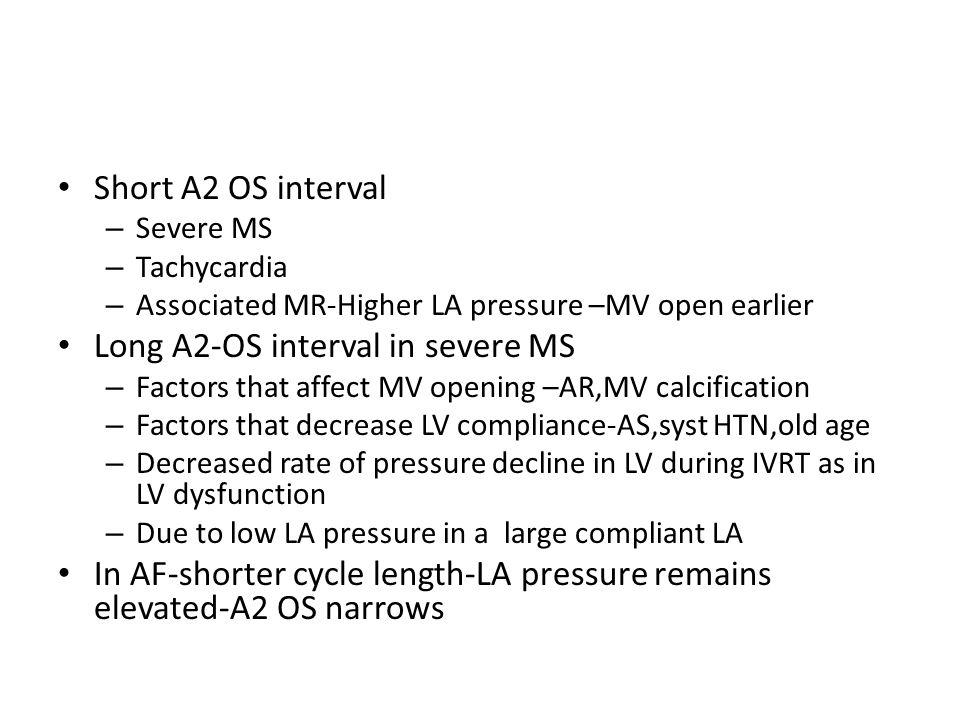 Short A2 OS interval – Severe MS – Tachycardia – Associated MR-Higher LA pressure –MV open earlier Long A2-OS interval in severe MS – Factors that aff
