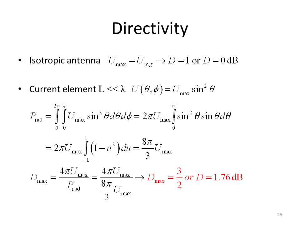 Directivity Isotropic antenna Current element L << λ 26