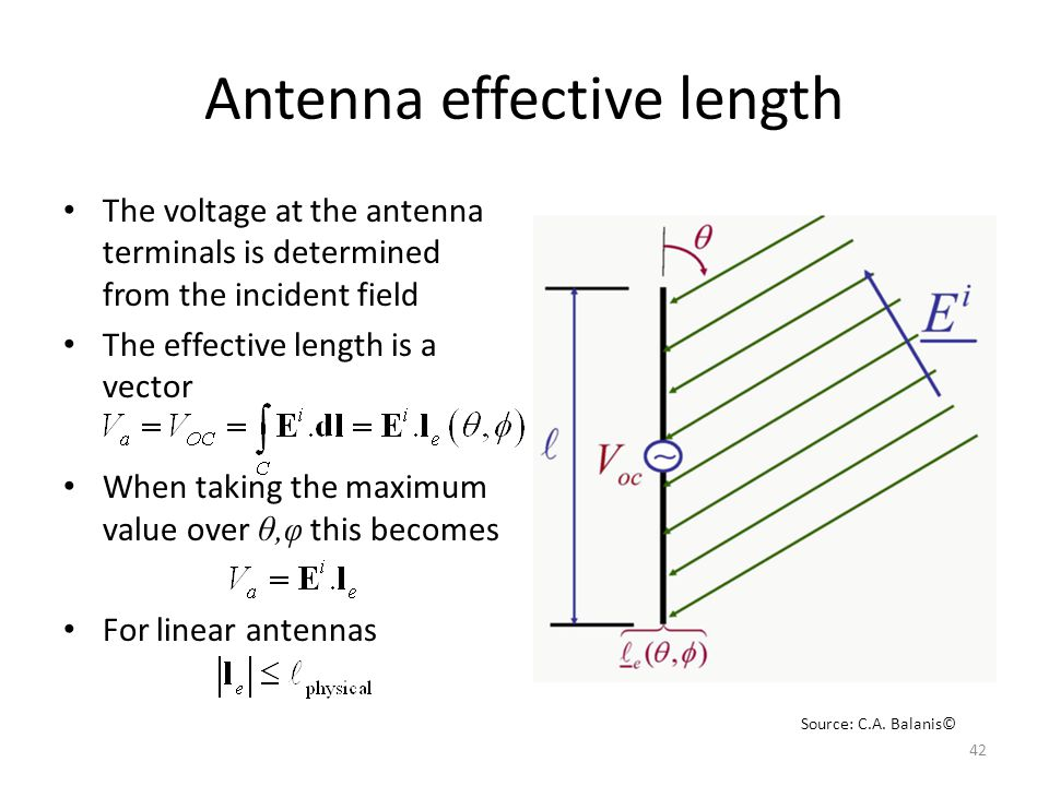 Antenna effective length The voltage at the antenna terminals is determined from the incident field The effective length is a vector When taking the maximum value over θ,φ this becomes For linear antennas 42 Source: C.A.