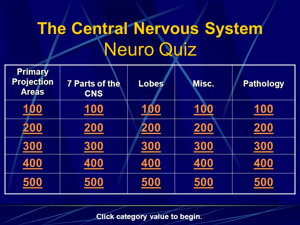 The Central Nervous System Neuro Quiz Primary Projection Areas 7 Parts of the CNS LobesMisc.Pathology 100 200 300 400 500 Click category value to begin.