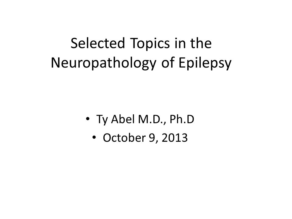 Selected Topics in the Neuropathology of Epilepsy Ty Abel M.D., Ph.D October 9, 2013