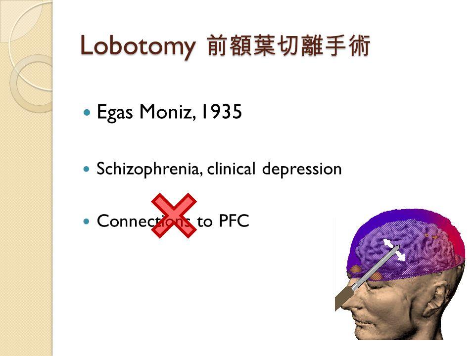 Lobotomy 前額葉切離手術 Egas Moniz, 1935 Schizophrenia, clinical depression Connections to PFC